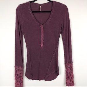 FREE PEOPLE   Henley Lace Sleeve Top